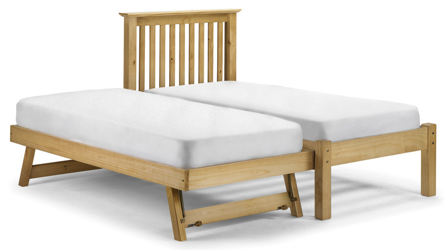 Abdabs furniture barcelona pine pull out bed with mattresses for Pull out bed