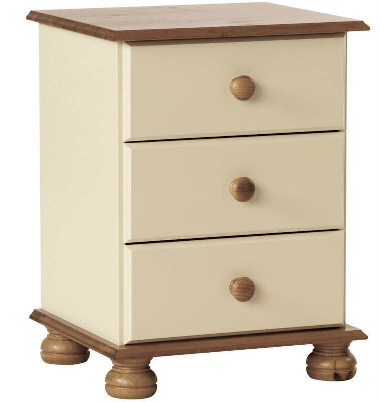 Abdabs Furniture Copenhagen Cream 3 Drawer Bedside Table