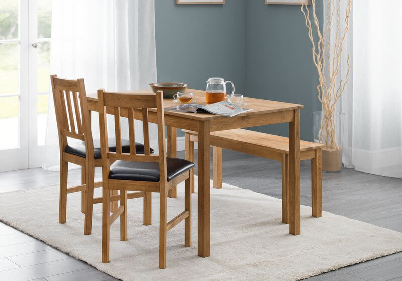 Abdabs furniture coxmoor oak dining table bench set for Dining set with bench and chairs