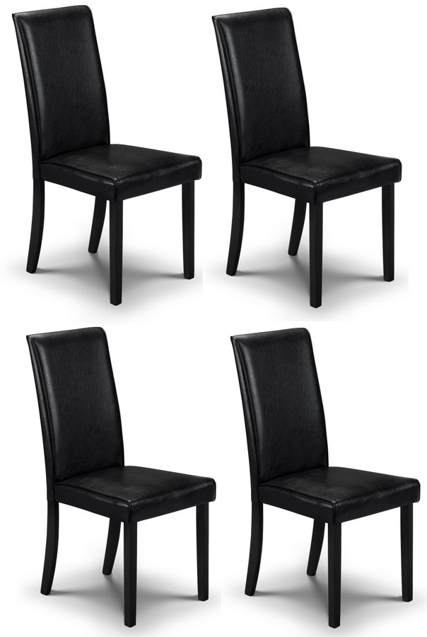 Abdabs furniture hudson black dining chairs set of four for Black dining sets with 4 chairs