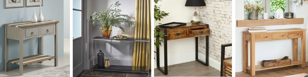 Hall and console tables in traditiional and modern designs.