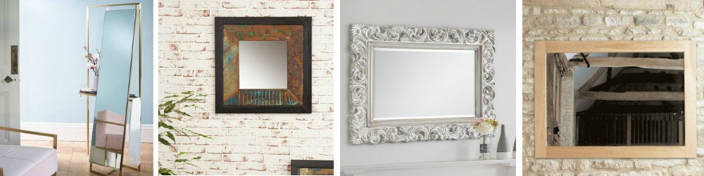 Wall mirrors in modern and traditional designs.