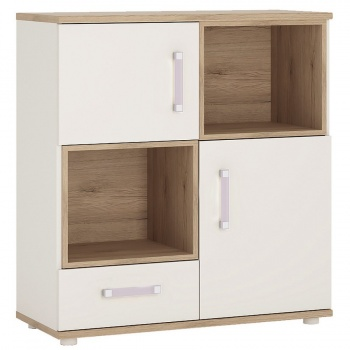 4 Kids 2 Door 1 Drawer Cupboard with 2 Open Shelves