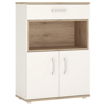 4 Kids 2 Door 1 Drawer Cupboard with Open Shelf