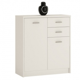 4 You 2 Door 2 Drawer Cupboard - Pearl White