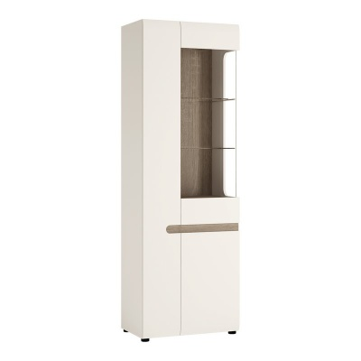 Chelsea Tall Glazed Narrow Display Unit Left Hand - White with Truffle Oak Trim