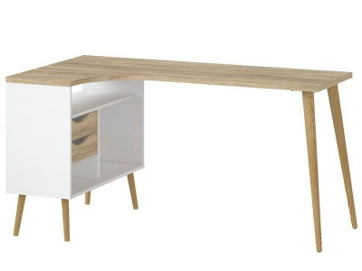 Oslo Desk 2 Drawer in White and Oak
