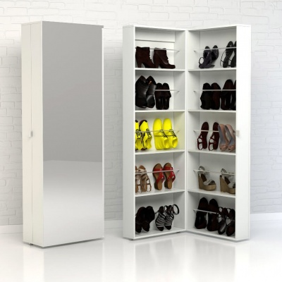 Shoes Shoe Cabinet 1 Door with Mirror in White