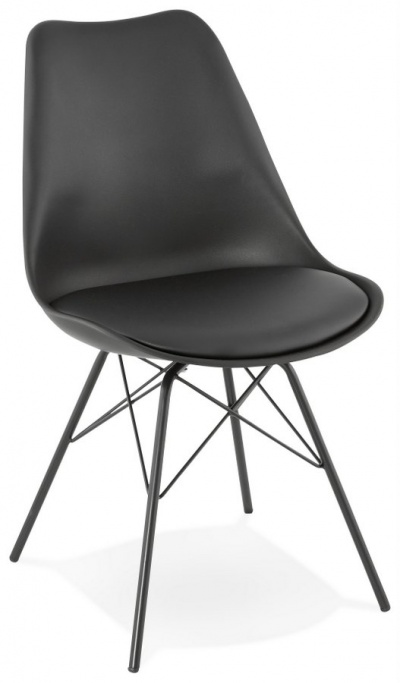 All Black Plastic Seat Dining Chair with Metal Legs