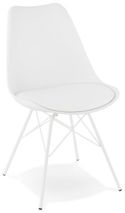 All White Dining Chair with Metal Legs