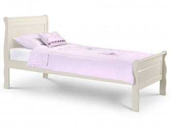 Amelia Stone White Wooden Sleigh Bed - Single