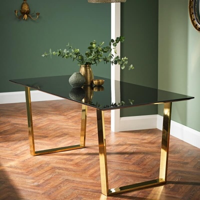 Anitbes High Gloss Black 180 cm Dining Table With Gold Legs
