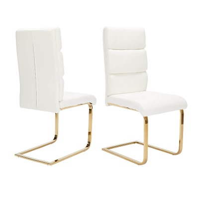 Antibes White Faux Leather Dining Chairs with Gold Legs - Set of Two