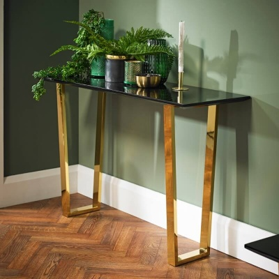 Antibes High Gloss Black Console Table with Gold Legs