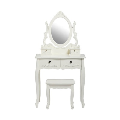 Antoinette White Dressing Table with Mirror & Stool