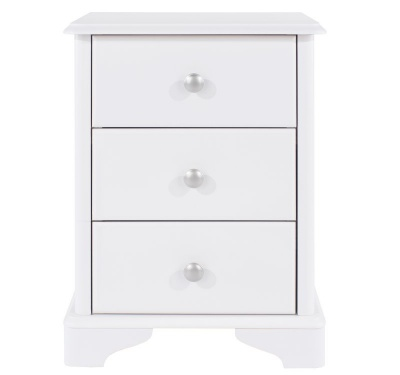 Arabella White Painted 3 Drawer Bedside Cabinet