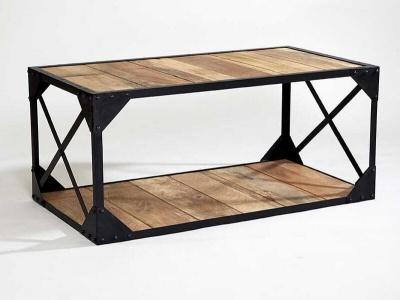 Ascot Industrial Coffee Table - Reclaimed Metal & Aged Wood