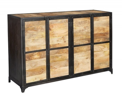Ascot Industrial Large Sideboard - Reclaimed Metal & Aged Wood