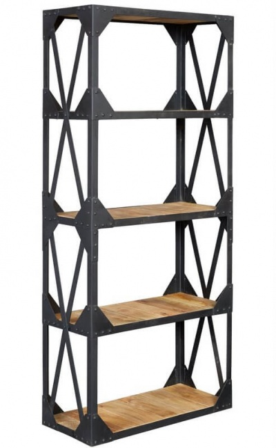 Ascot Industrial Large Bookcase - Reclaimed Metal & Aged Wood