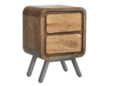 Aspen 2 Drawer Lamp Table- Solid Hardwood & Reclaimed Metal
