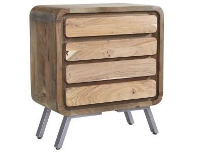 Aspen 4 Drawer Wide Chest - Solid Hardwood & Reclaimed Metal