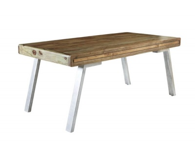 Aspen Large Dining Table - Solid Hardwood & Reclaimed Metal