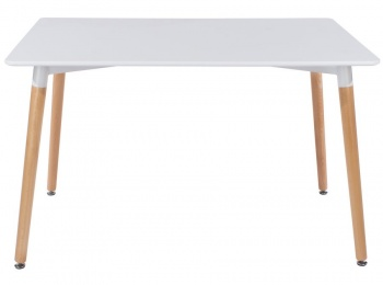 Aspen Large Rectangular White Dining Table with Wooden Legs