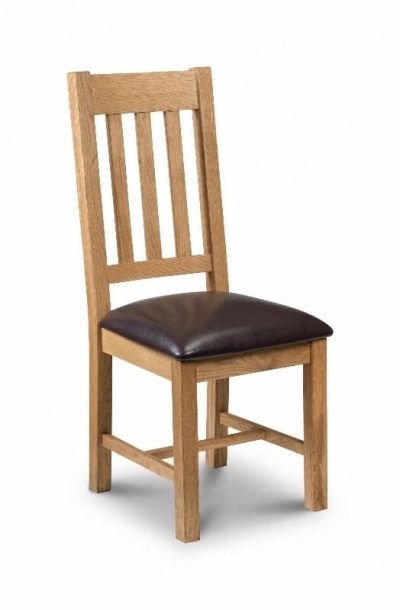Astoria Oak Dining Chairs with Brown Faux Leather Seats - Set of 4