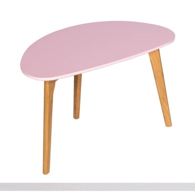 Astro Coffee Table Pink with Wooden Legs