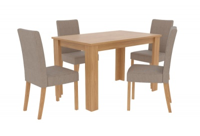 Atlanta Oak Effect Rectangular Dining Table with Four Beige Dining Chairs