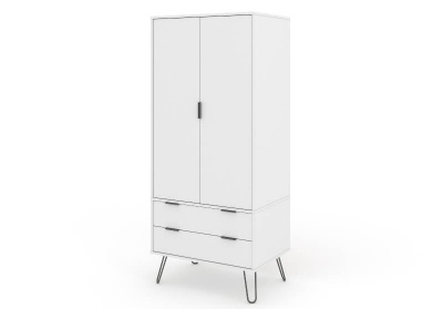 Augusta 2 Door 2 Drawer Wardrobe Contemporary White with Metal Legs