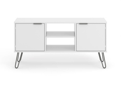 Augusta 2 Door Flat Screen TV Unit - White with Metal Legs