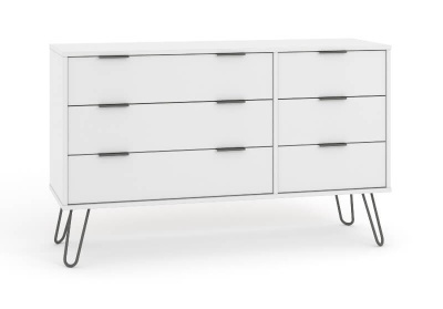 Augusta 3 + 3 Drawer Wide Contemporary White Chest with Metal Legs