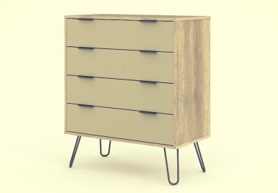 Augusta 4 Drawer Contemporary Chest of Drawers - Driftwood with Metal Legs