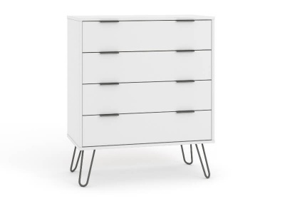 Augusta 4 Drawer Contemporary White Chest of Drawers with Metal Legs