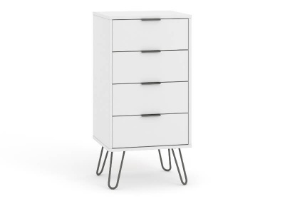 Augusta 4 Drawer Narrow Contemporary White Chest of Drawers with Metal Legs