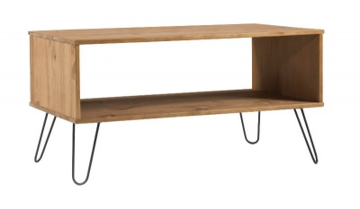 Augusta Open Coffee Table - Pine with Metal Legs