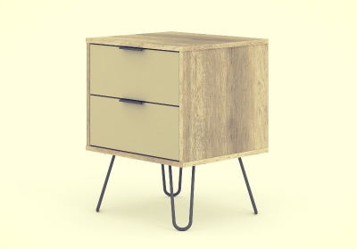 Augusta Driftwood and Calico 2 Drawer Bedside Cabinet