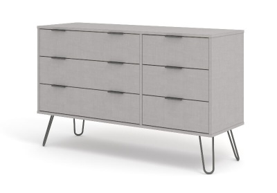 Augusta Grey 3 + 3 Drawer Wide Chest of Drawers