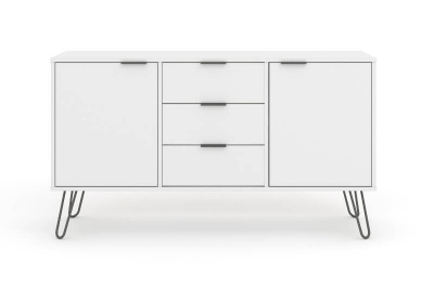 Augusta Medium Sideboard - White with Metal Legs