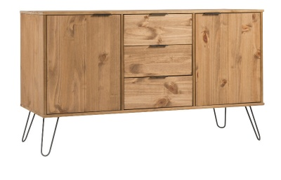 Augusta Medium Sideboard - Pine with Metal Legs