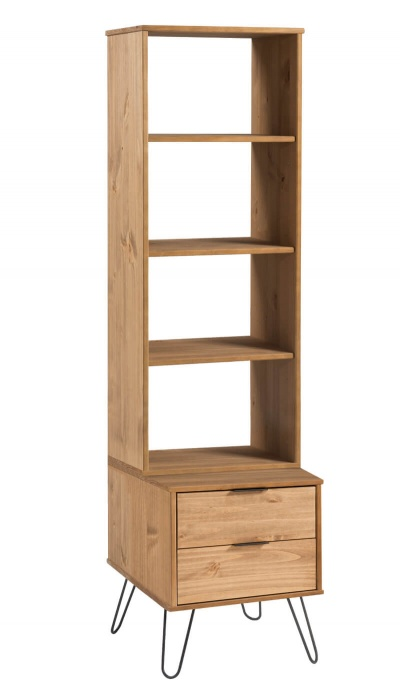 Augusta Narrow Bookcase with 2 Drawers - Pine with Metal Legs