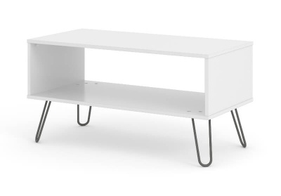 Augusta Open Coffee Table - White with Metal Legs