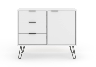 Augusta Small Sideboard - White with Metal Legs