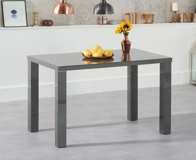 Ava 120 cm Dining Table Dark Grey High Gloss Finish