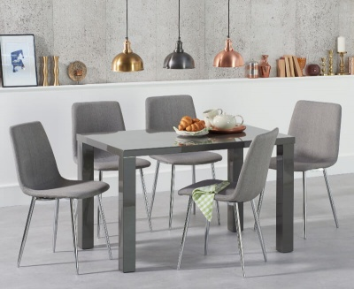 Ava 120 cm Dining Table Dark Grey High Gloss with 4 Hatfield Grey Fabric Chairs