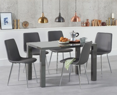 Ava 120 cm Dining Table Dark Grey High Gloss with 4 Hatfield Grey PU Chairs