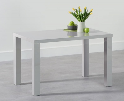 Ava 120 cm Dining Table Light Grey High Gloss Finish