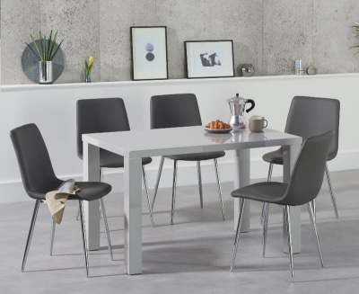 Ava 120 cm Dining Table Light Grey High Gloss with 4 Hatfield Grey PU Chairs