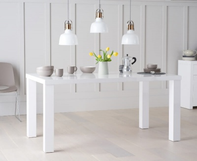Ava 160 cm Dining Table White High Gloss Finish